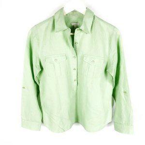 (M2-14) Talbots  Petite Small Green Blouse Linen